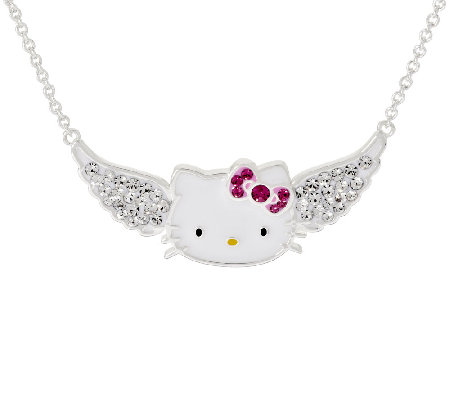 Hello Kitty Crystal Pave Angel Wing Station Necklace