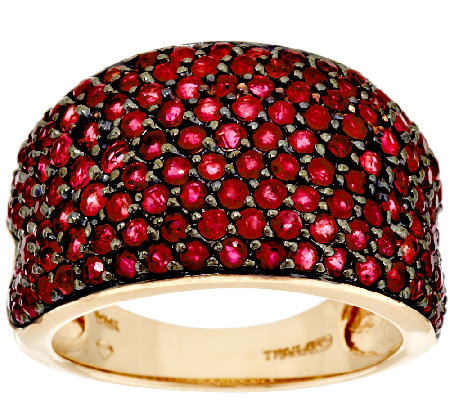 """As Is"" 2.50 ct tw Pave Thai Ruby Domed Ring, 14K Gold"