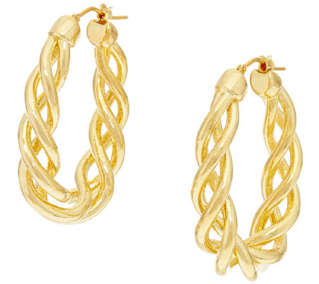 "Oro Nuovo 1-1/2"" Open Twist Oval Hoop Earrings, 14K"
