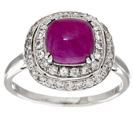 """As Is"" 2.50 ct tw Cushion Thai Ruby & White Sapphire Sterling Ring"