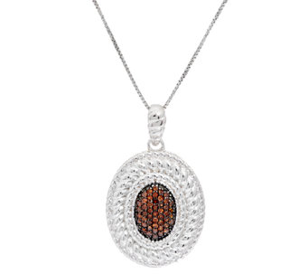 Oval Color Diamond Pendant Sterling, 1/4 cttw, by Affinity - J320716