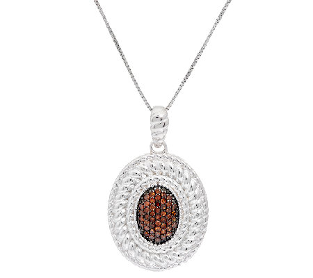 Oval Color Diamond Pendant Sterling, 1/4 cttw, by Affinity