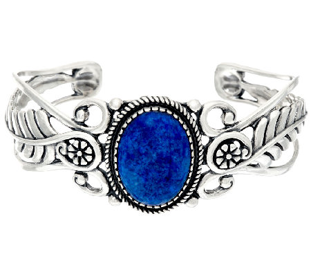 American West Sterling Silver Denim Lapis Leaf & Flower Cuff