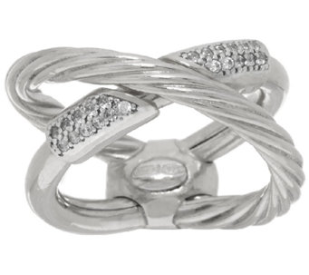 Vicenza Silver Sterling 1/5 cttw Diamonique X-Design Ring - J322316