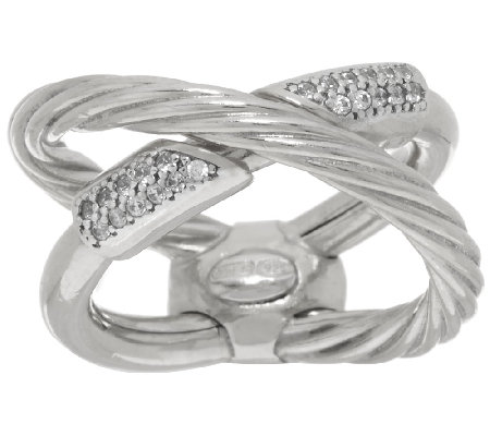 Vicenza Silver Sterling 1/5 cttw Diamonique X-Design Ring