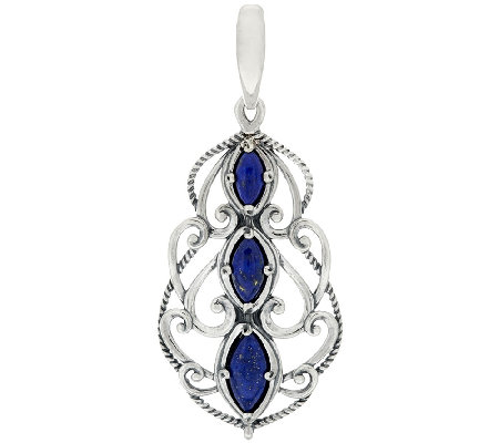 Carolyn Pollack Sterling Silver Marquise Lapis Textured Scroll Enhancer