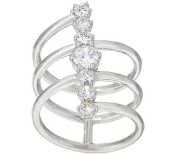 VicenzaSilver Sterling Diamonique Linear Design Ring - J322716