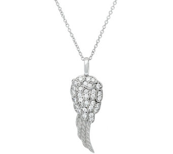 Diamonique Angel Wing Pendant with Chain, Sterling - J324916