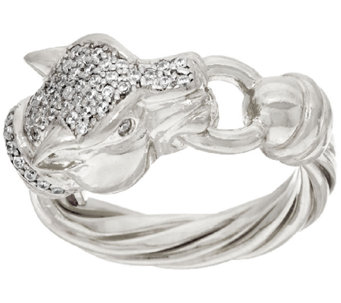 Vicenza Silver Sterling Diamonique Panther Head Ring - J325216