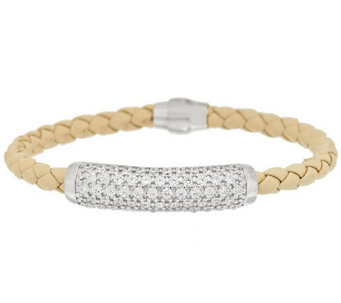 """As Is"" Diamonique Sterling Pave' Station Leather Bracelet - J325916"