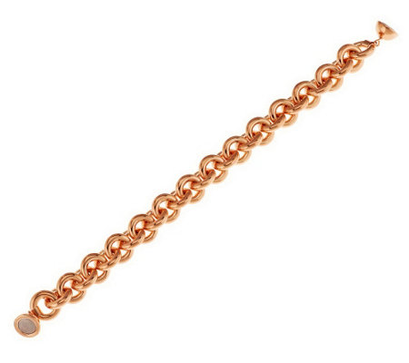 """As Is"" Oro Nuovo Large Rolo Link Bracelet with Magnet, 14K"
