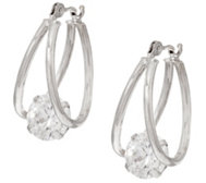 Diamonique 2.00 cttw Split Hoop Earrings, 14K Gold