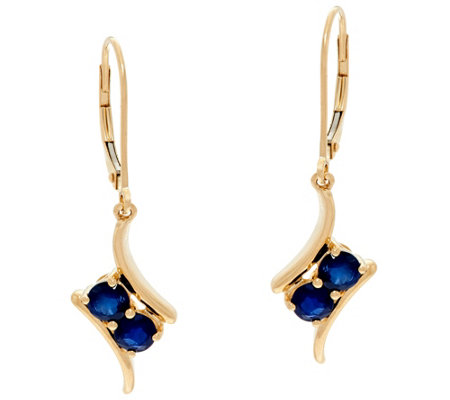2 Stone Precious Gemstone Drop Earrings, 14K 0.80 cttw