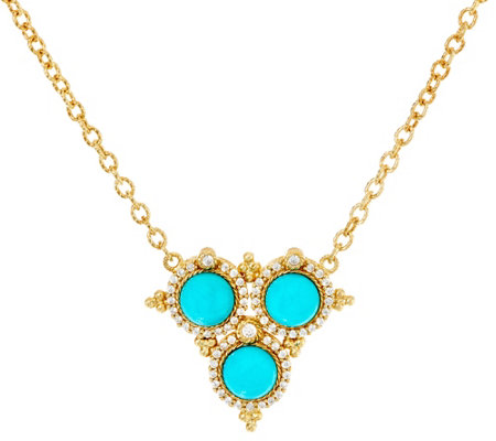 Judith Ripka Sterling & 14K Clad Turquoise & Diamonique Necklace