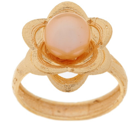 """As Is"" EternaGold 7.0mm Cultured Pearl Textured Flower Ring,14K"