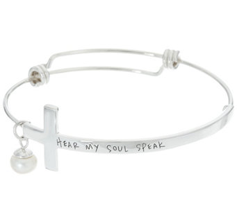 "Shawn's ""Hear My Soul Speak"" Sterling Inscribed Cross Bangle - J331216"