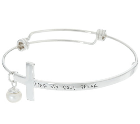 "Shawn's ""Hear My Soul Speak"" Sterling Inscribed Cross Bangle"