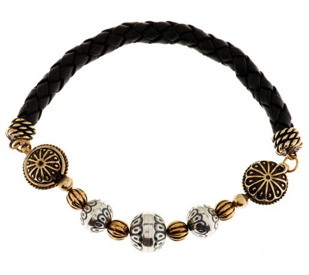 """As Is"" Sterling/Brass Magnetic Leather Bead Bracelet"