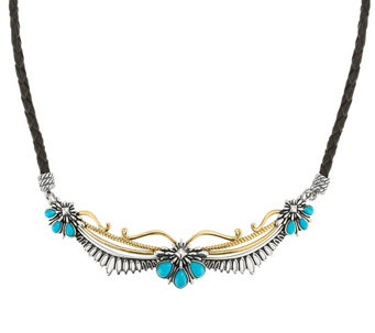 """As Is"" Sterling/Brass Turquoise & LeatherNecklace American West - J334416"