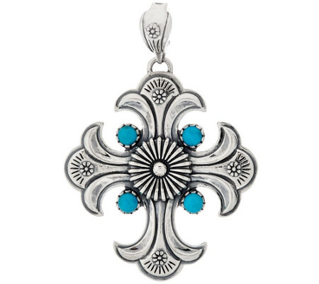 """As Is"" Sterling Silver Turquoise Cross Enhancer by American West"