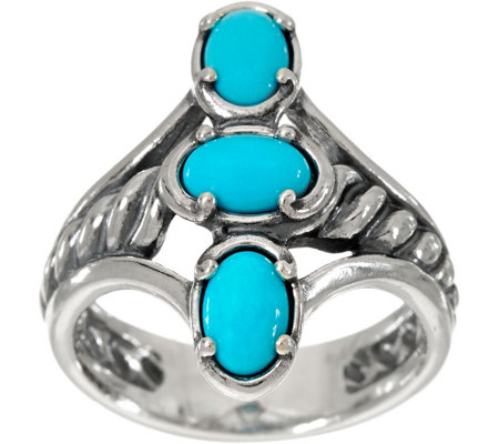 Carolyn Pollack Sleeping Beauty Turquoise Sterling Three Stone Ring
