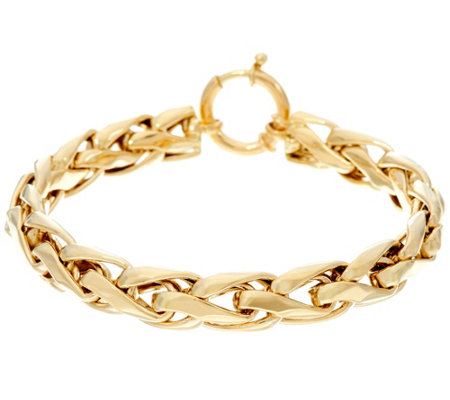 """As Is"" 14K Gold 8"" Polished Woven Wheat Bracelet, 10.5g"