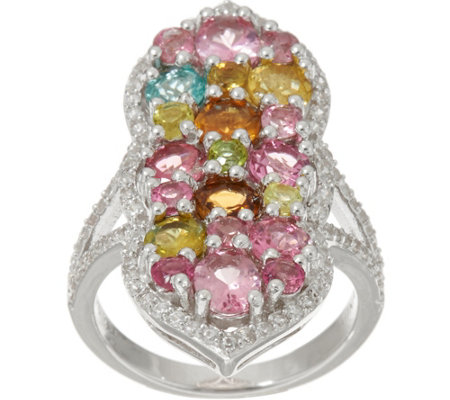 Multi-Color Tourmaline & White Zircon Sterling Ring 4.00 cttw