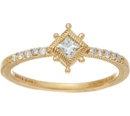 Judith Ripka 14K Gold 1/5 cttw Diamond Ring