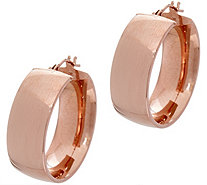 "Italian Gold Polished Wedding Band 1"" Hoop Earrings, 14K - J348716"