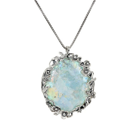 Or Paz Sterling Silver Roman Glass Oval Pendant with Chain