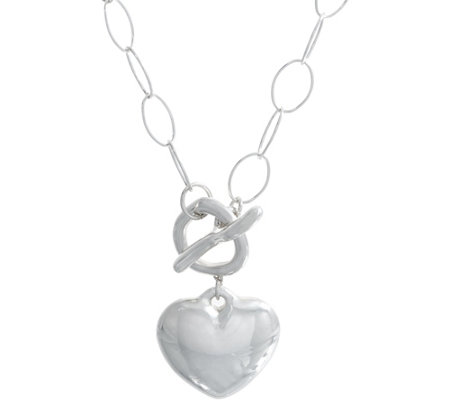 Simon Sebbag Sterling Silver Puffy Heart Toggle Necklace