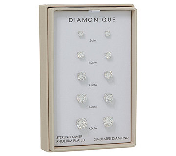 Diamonique Set of 5 Stud Earrings, Sterling or 14K Plated, Boxed - J351916