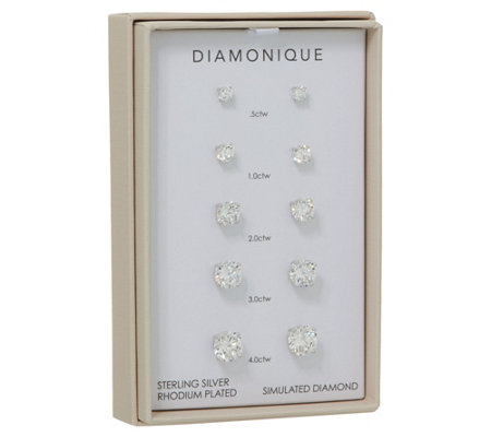 Diamonique Set of 5 Stud Earrings, Sterling or 14K Plated, Boxed
