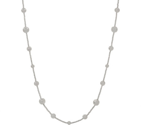 "UltraFine Silver 36"" Diamond Cut Bead Station Necklace 00.0g"