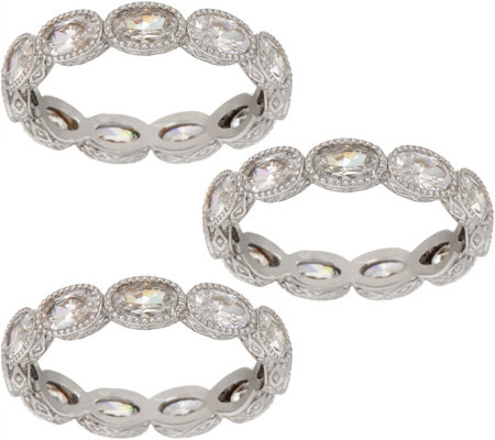 Judith Ripka Choice of Tone Set of 3 Oval Diamonique Band Rings