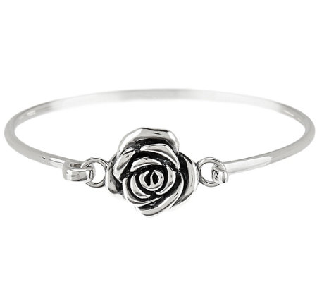 """As Is"" Or Paz Sterling Silver Rose Hinged Bangle Bracelet"