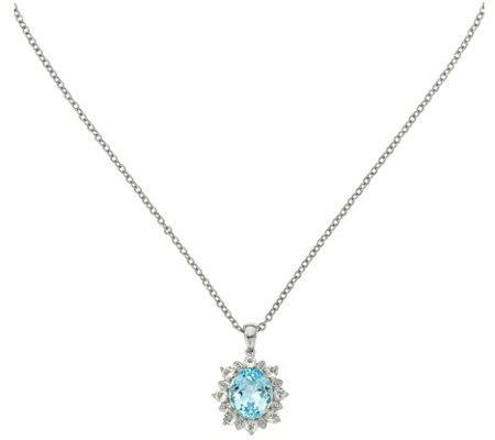 "Sterling & 14K Sky Blue & White Topaz Pendant with 18"" Chain"