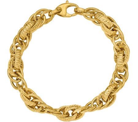 14K Yellow Gold Bold Loose Rope Link Bracelet,10.6g