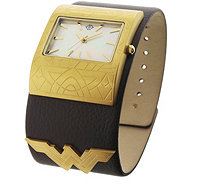 Women's Wonder Woman Brown Leather Cuff Watch - J379016