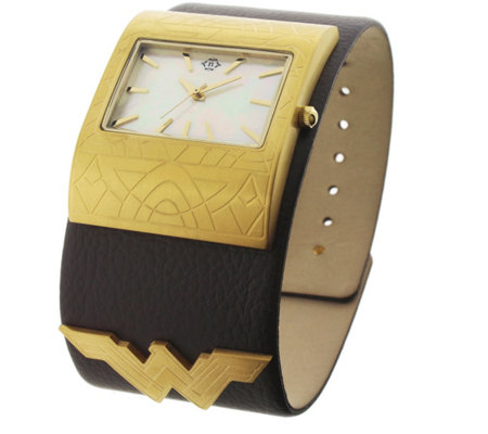 Women's Wonder Woman Brown Leather Cuff Watch