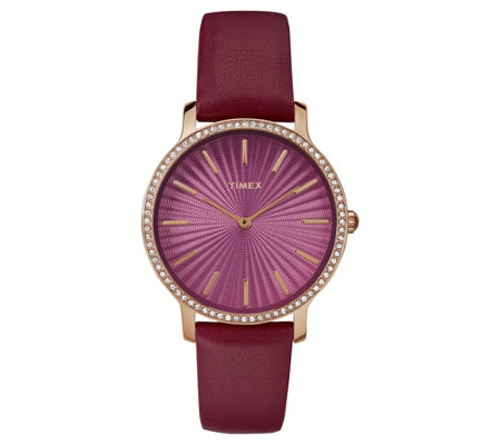 Timex Ladies' Metropolitan Starlight Rosetone &Burgundy Watch
