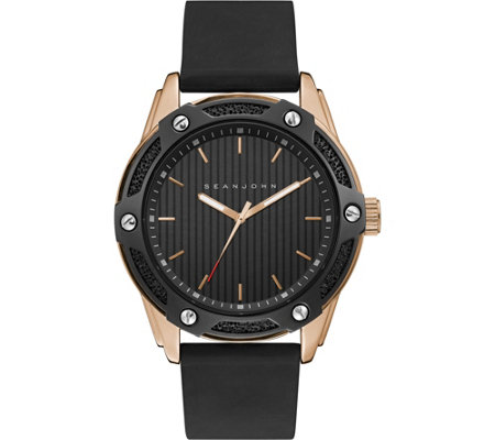 Sean John Men's Rosetone & Black Silicone Analog Watch