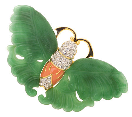 Kenneth Jay Lane S Simulated Jade Butterfly Pin Page 1