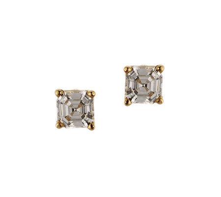 Diamonique 1.00 ct tw Asscher Stud Earrings, 14K Gold