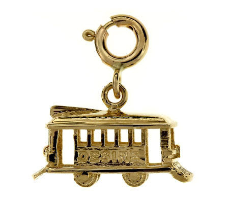 14K Yellow Gold Cable Car Charm