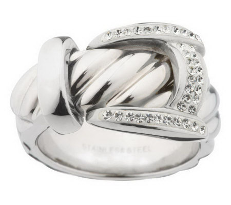 Steel by Design Crystal Buckle Ring
