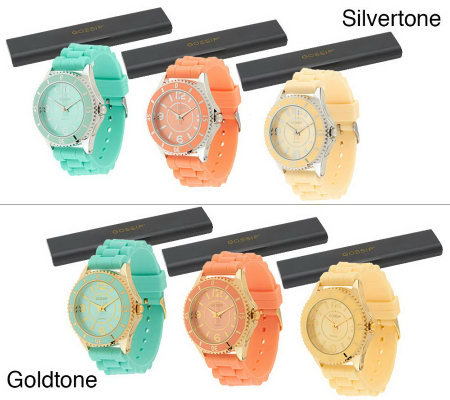 Gossip Set of 3 Silicone Strap Watches in IndividualBoxes