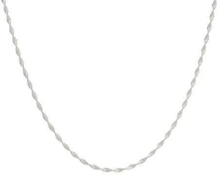 "Vicenza Silver Sterling 18"" Twisted Ribbon Chain"