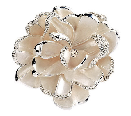 Joan Rivers Limited Edition White Pave' Gardenia Pin