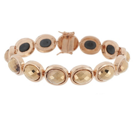 """As Is"" Bronzo Italia Oval Faceted Hematite Tennis Bracelet"